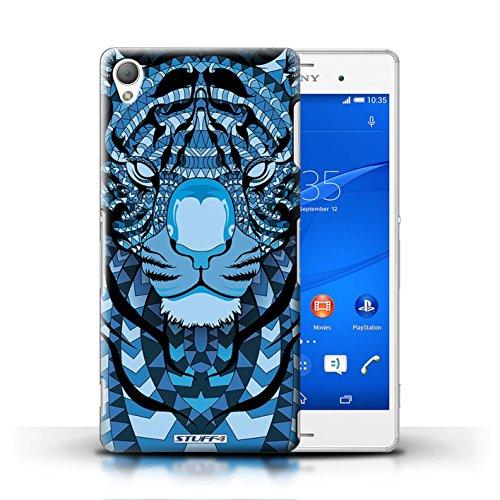 Coque en plastique pour Sony Xperia Z3 Collection Motif Animaux Aztec - Loup-Sépia Tigre-Bleu