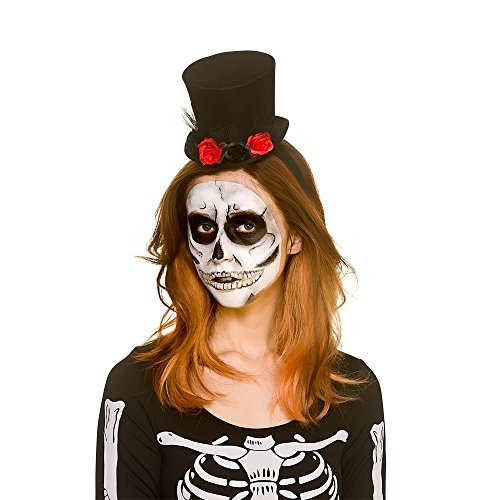 Adult Day of the Dead Mini Top Hat with Flowers Halloween Fancy Dress Accessory