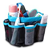 ONEVER Shower Organiser Quick Dry Hanging Shower Caddy Toiletry Organiser Cosmetic Storage Bags with 8 Mesh Pockets Mildew Resistant Water Resistant for Home Travel GYM Dorm Camp Bathroom Multifunctional (Sky Blue)