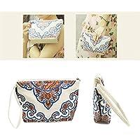 Borsa per il trucco, ASAPS Premium Piccolo puro cotone tela borsa/trucco/Cosmetic Bag/Organizzatore/storage/Zipper Bag Red Flower