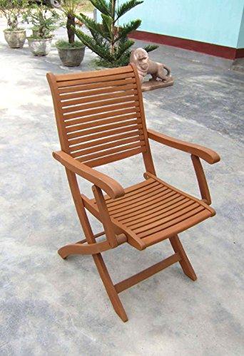 Legno&Design Chaise avec accoudoirs en Bois Massif Jardin extérieur