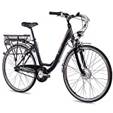 CHRISSON 28 Zoll E-Bike Trekking und City Bike für Damen - E-Lady schwarz mit 7 Gang Shimano Nexus Nabenschaltung - Pedelec Damen mit Bafang Vorderradmotor 250W, 36V