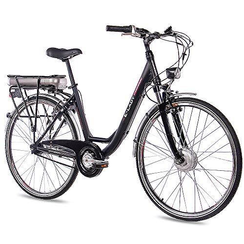 CHRISSON 28 Zoll E-Bike Trekking und City Bike für Damen - E-Lady schwarz mit 7 Gang Shimano Nexus Nabenschaltung - Pedelec Damen mit Bafang Vorderradmotor 250W, 36V*