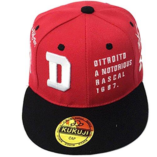Belsen Kind Hip-Hop Stickerei Schreiben D Cap Baseball Kappe Hut (rot)