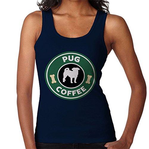 Pug Coffee Starbucks Women's Vest Navy blue