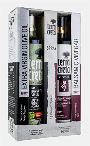 Extra Natives Olivenöl Terra Creta Estate + Balsamico Essig Spray in der Geschenkbox (je 250 ml)