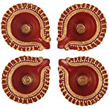 Red Gold Accented Handmade Earthen Clay / Terracotta Decorative Diyas / Oil Lamps With For Pooja / Diwali / Puja Set Of 4
