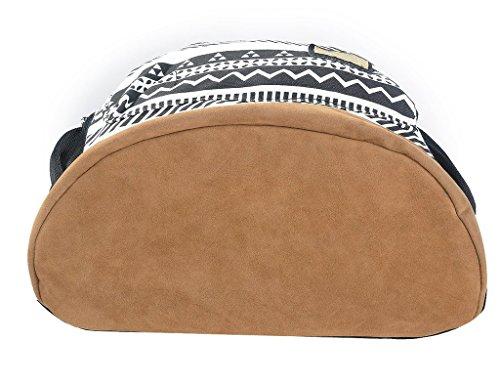 Yiuswoy Retro Nationalen Wind Muster Leinwand Taschen Reisetaschen Schultaschen Rucksack Fuer Schule – Farbe E - 4