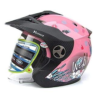 YEMA Rollerhelme Sommer Anti-Fog-objektiv Halbhelme Outdoor Sport Motorrad Jethelme Pilot Cruiser Crash Jet Helme,Pink