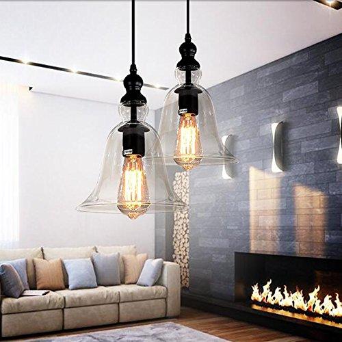 Retro Nordic Glas Kronleuchter Lampenschirm Pendelleuchte Lampenfassung Anhänger Deckenleuchte Glocke Lampe (1 Licht Glocke-glas)