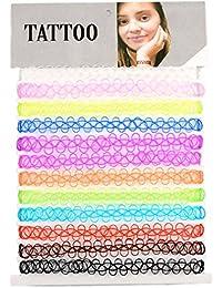 Hexawata Women Colorful Tattoo Henna Stretch Elastic Choker Girls Necklace Set Of 12