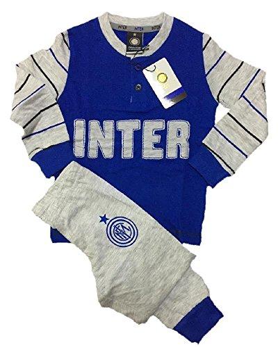 Pigiama lungo Bimbo Fc Internazionale maglia e pantaloni lunghi *21146-3 anni-grigio melange
