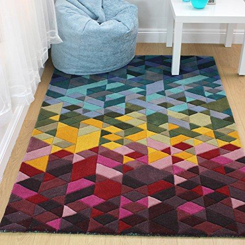 e-Rugs Modernes Montego Kingston Prism handgetuftet Geometrische Muster Wolle Teppich, Multi-120x 170cm - Prism Multi Teppich