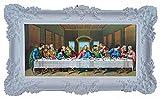 Made in Italy Barock Gemälde Bild mit Rahmen Repro Antik Look Jesus 12 APOSTEL Ultima Cena 96x57cm (Weiß)