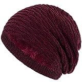 Compagno Wintermütze warm gefütterte Mütze Wabenmuster Beanie meliert Einheitsgröße, Farbe:Weinrot meliert