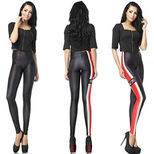 THENICE Sexy Elastic Gedruckt dehnbar Strumpfhosen Damen Leggings Pants Red weißen Streifen