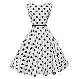 UFACE 50s Retro Vintage Rockabilly Kleid Partykleider Cocktailkleider (Punkt Weiß, XS)