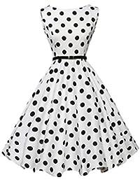 aa2f6724cf54a0 UFACE Kleid 50er Jahre Rockabilly Damen Vintage Polka Dots Blumendruck  Bodycon Ärmellos Casual Abend Prom Swing Kleid…
