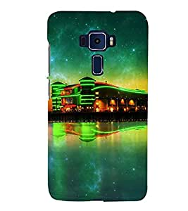 Takkloo lightened building green light,twinkling stars, black sky, beautiful night view of building) Printed Designer Back Case Cover for Asus Zenfone 3 Deluxe ZS570KL (5.7 Inches)