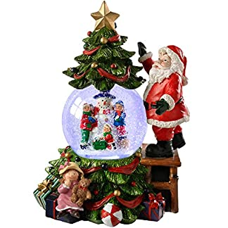WeRChristmas Decoración navideña Musical Papá Noel, árbol y Bola de Nieve Que Cambia en múltiples Colores de 23cm