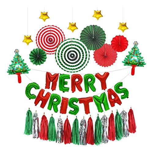 ZSQQSCL Jahr Weihnachten Ballon Weihnachten Papier Fan Flower Schreiben Quaste Ballon Set Mall Hotel Interior Weihnachten Dekoration Luftballons, D