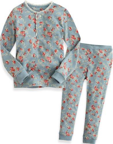 Vaenait Baby 74-122 Säugling Kinder Langarm zweiteilige Schlafanzüge Set Long Lacy Blue L