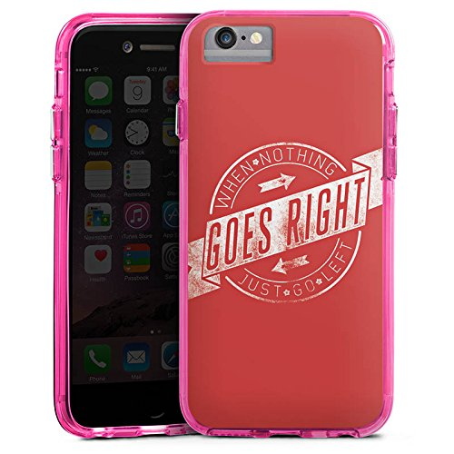 Apple iPhone 6 Bumper Hülle Bumper Case Glitzer Hülle Motivation Leben Life Bumper Case transparent pink