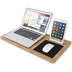 Lifewit Bambus Laptoptisch Laptop Unterlage Lapdesk Notebooktisch Laptop-Schoßtablett Monitorständer Betttisch