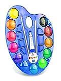 Primo Deckfarbkasten aus Plastik mit 12 Farben, mit Deckel/Farbmischpalette.