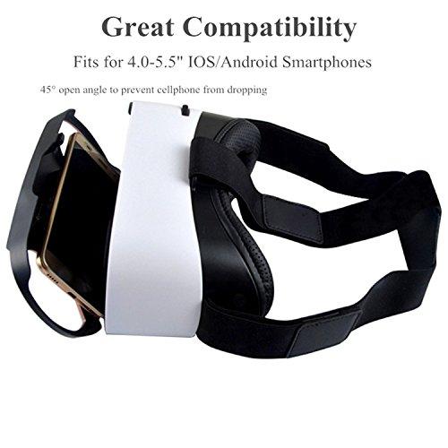 3D VR Brille mit Fernbedienung Controller, bevifi STF-110° VR Headset Brille für iOS Android iPhone 87Plus Galaxy S7S6S5& mehr 11,4–14cm Handys Objektiv 3D Movie Game beobachten–Blau–Rose Gold