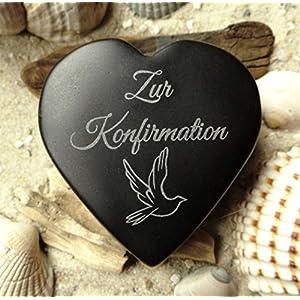 Herz Zur Konfirmation mit Wunschgravur Basalt Geschenk