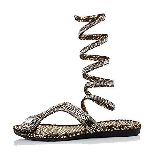 lifewheel Fashion Trends Serpent Imprimé Sandales à bout plat Chaussures Or - doré
