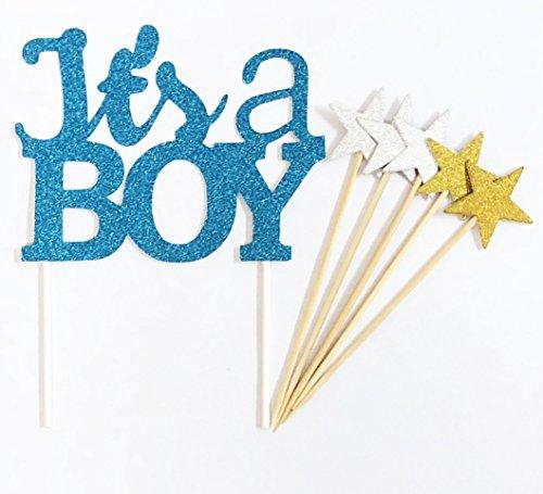 t Glitter Baby Dusche Kuchen Dekorieren Topper - IT'S A BOY Blau Set ()