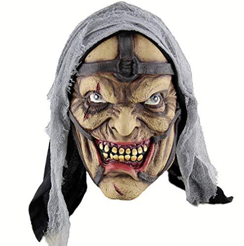 DWcamellia Masken für Erwachsene Gruselige Halloween Grimasse Horrible Mask Party Gruselig Realistische Magier Maske Cosplay Kostüme Süßes oder Saures Halloween Party - Weibliche Magier Kostüm