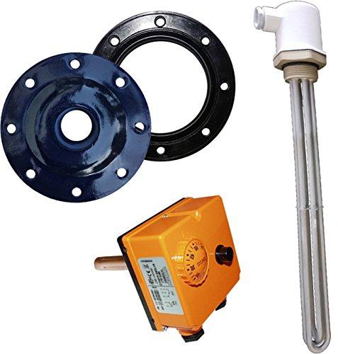 3kW Elektroheizstabset - 3 x 230V (bis 500 Liter) - 3kW Heizelement, Thermoregler, Flanschdeckel und Dichtung