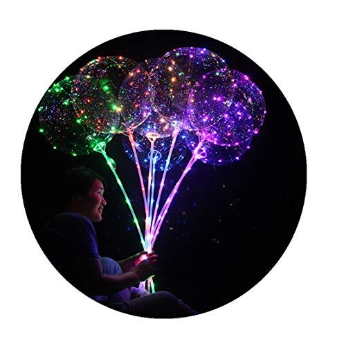 rwendbarer leuchtender geführter Ballon 3Pcs | Transparente Runde Blase Dekoration Party ()