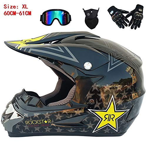 QYTK® Série ZX-211 Unisex Motorradhelm, Full face Motocross Helm Sport Adventure Racing Motorrad-Helm Motocross Schutzhelm MTB Schutz Sicherheit Helm mit Brille Handschuhe Maske,XL60~61CM