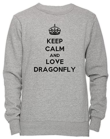 Keep Calm And Love Dragonfly Unisexe Homme Femme Sweat-shirt Jersey Pull-over Gris Taille M Men's Women's Jumper Sweatshirt Pullover Grey Medium Size M