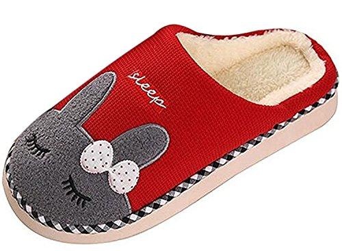 Minetom Unisexe Hiver Peluche Pantoufles Doux Bande Dessinée Style Chaussons Confortables Couple Slippers Rouge EU 35