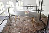 greemotion 128467 Gartentisch BERN-Esstisch braun für Garten, Terrasse & Balkon rechteckig, Tischbeine Akazie massiv-Tisch mit Tischplatte in Beton Optik, Grau, 21,2 x 10,3 x 1,3 cm