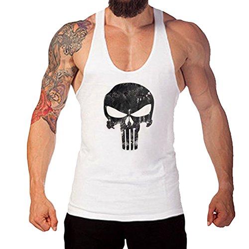 West See Herr Mann Tops Tank Tankshirt Vintage Skull Totenkopf T-Shirt Weste Muscleshirt Print (EU M, Weiß)
