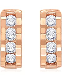 Peora Rose Gold Plated Mod Sparkle CZ Hoop Earrings For Women Girls
