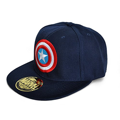 Captain America - Logo einstellbarer Cap Snap-Back Baseball Kappe Mütze Hut Original & Lizensiert (Baseball-hüte Lizenzierte)