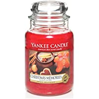 Yankee candle 1275309E Christmas Memories Candele in giara grande, Vetro, Rosso, 10x9.8x17.5 cm