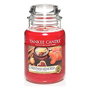 Yankee Candle 1275309E Christmas Memories Candele In Giara Grande, Vetro, Rosso, 10X9.8X17.5 Cm, fragranze naturali 2 spesavip