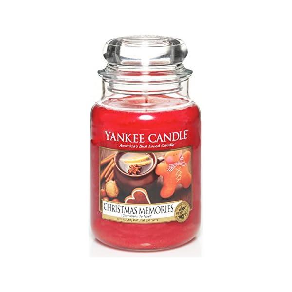 Yankee Candle 1275309E Christmas Memories Candele In Giara Grande, Vetro, Rosso, 10X9.8X17.5 Cm, fragranze naturali 1 spesavip