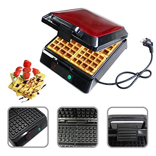 Todeco - Gaufrier, Machine à Gauffre - Fonctions: Peut faire 4 gaufres en même temps - Puissance électrique: 1080-1300 W - Rouge