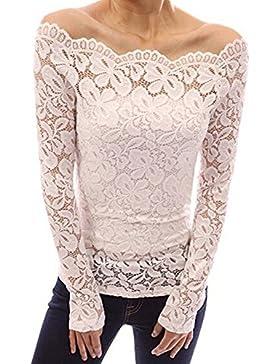 Minetom Mujer Camisa Blusa Manga Larga de Encaje Camiseta Moda Floral Crochet Elegante Tops Off Shoulder Lace...