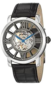 Stuhrling Original Winchester Terrace Mechanical Skeleton Men's Mechanical Watch with Grey Dial Analogue Display and Black Leather Strap 280.33151