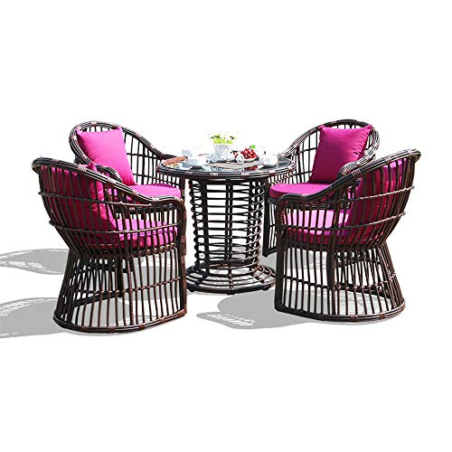 51E3L1EsBZL. SS500  - VBARV Outdoor furniture wicker dining table and chair (set of 5), tempered glass table top, washable cushion, suitable for terrace, backyard, porch, garden, poolside outdoor furniture